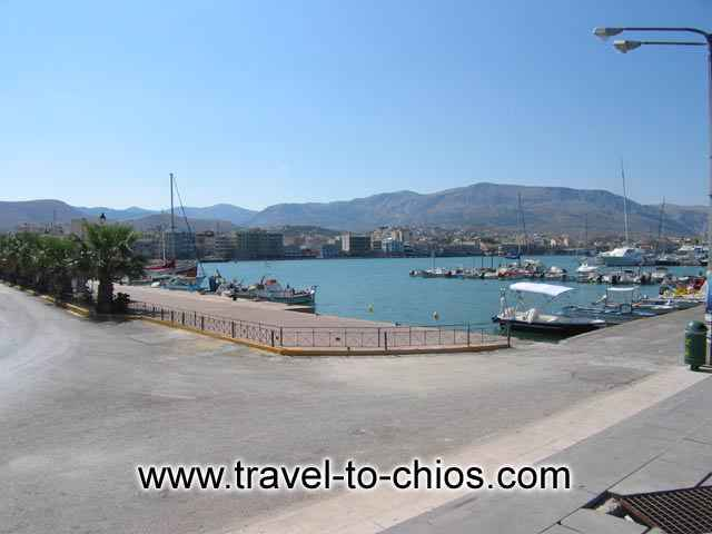 View of the port of Chora (Chios town) in Greece