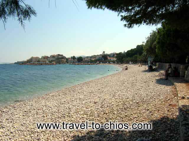 View of the great pebble beach of Daskalopetra (Homer's stone) in Chios island Greece