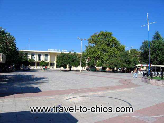 View of the halltown and the square in front of it in Chora (Chios town) Greece