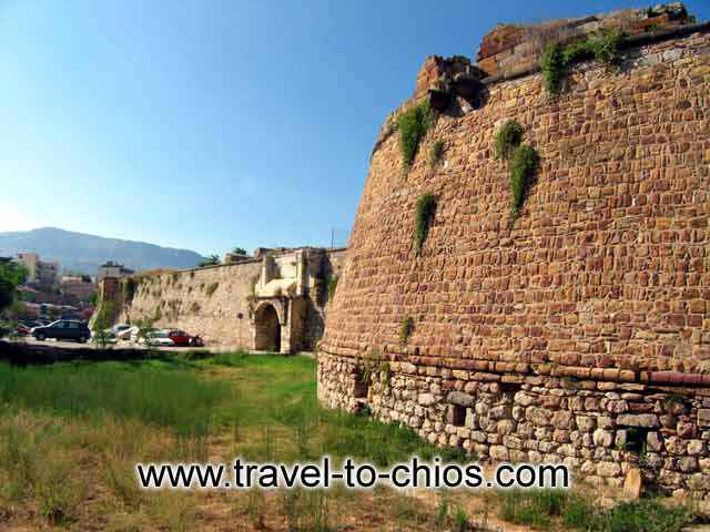 The Castle or Fortress of Chios lies north of the center of town.  When it was built, it enclosed the entire town of Chios, soon thereafter, however, the town e