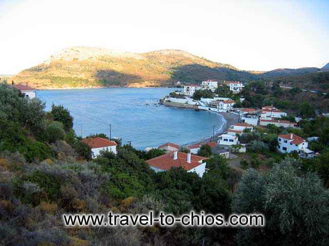 View from above of the small beach of Nagos in the area of Kardamyla in Chios island Greece