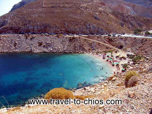 View from above of the great beach Grari in the area of Vrondados at Chios island Greece